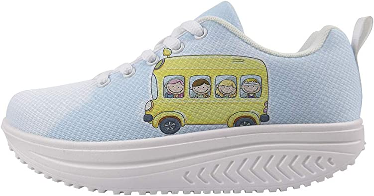 Swing Platform Toning Fitness Casual Walking Shoes Wedge Sneaker Women Boys and Girls Happily Smile On School Bus Owaheson