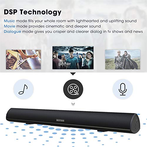 100Watt 40 Inch Soundbar, Bestisan Sound Bar Wireless and Wired Audio Bluetooth 5.0 TV Speakers with IR Remote Function (2019 Beef Up Version, 60 Days Home Trial)