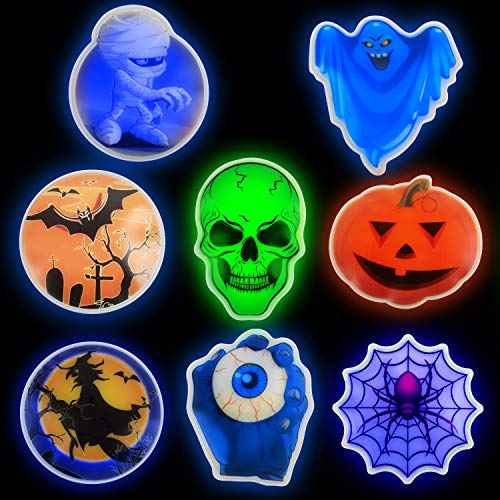 "PartySticks Halloween Party Favors – ""Glow Pods"" 8 Pack 3.2"" Halloween Decor Party Favors for Kids + Adhesive Pads to Make Glow in The Dark Stickers"