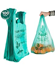Eco Friendly Compostable Bags 100 Count Biodegradable Plastic Grocery Bags - Reusable Supermarket Thank You Shopping Bags, Recyclable Plastic T Shirt Bags, Small Trash Can Bags