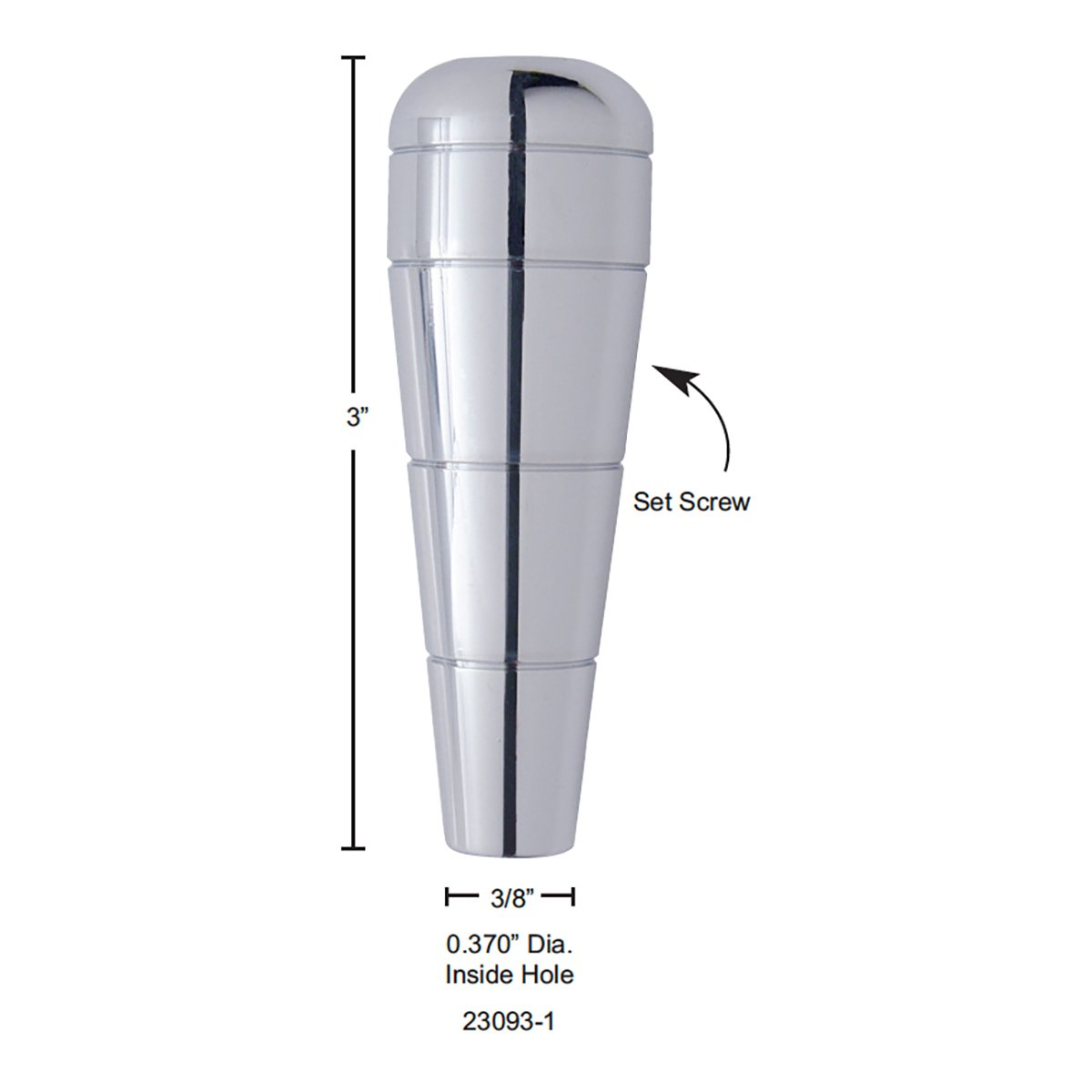 United Pacific 23093-1 3 Chrome Aluminum Pointed Trailer Brake Handle