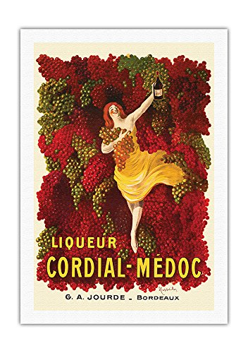 Liqueur Cordial-Médoc - French Wine - G. A. Jourde Winemakers Bordeaux France - Vintage Advertising Poster by Leonetto Cappiello c.1907 - Fine Art Rolled Canvas Print - 27in x 40in