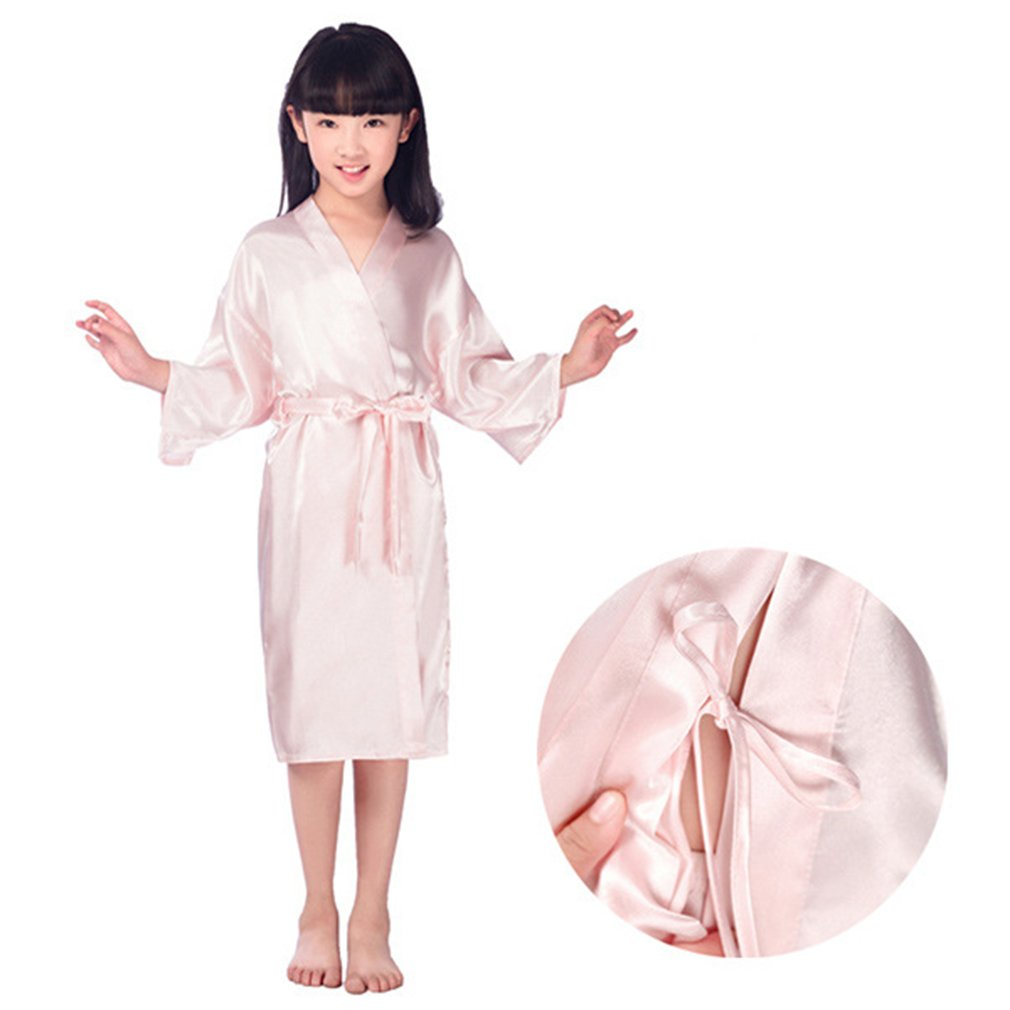 Yying Rhinestone Crystal Flower Girl Satin Kimonos Robes Junior Bridesmaid Sleepwear