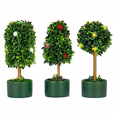 VGIA Set Of 3 Artificial Plants In Ceramic Pot,Colorful Boxwood Topiary Small Home Decor Tabletop