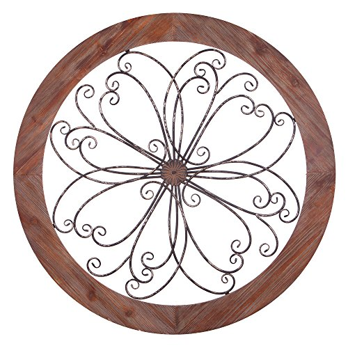 Patton Wall Decor Rustic Round Wood and Metal Decorative Scroll Wall - Decorative Wall Scroll