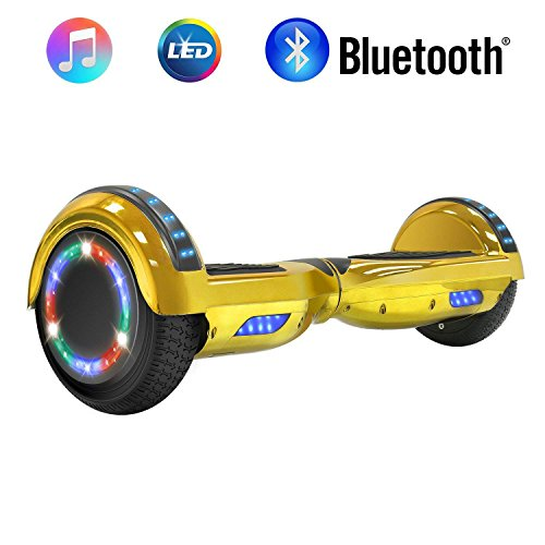 """NHT 6.5"""" Chrome Hoverboard Two-Wheel Electric Smart Self Balancing Scooterwith Bluetooth Speaker & Sidelights - UL2272 Certified, Chrome Gold"""