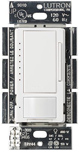 Lutron Maestro C.L Dimmer and Motion Sensor, Single-Pole and Multi-Location, MSCL-OP153M-WH, White (Sensor Single Pole)