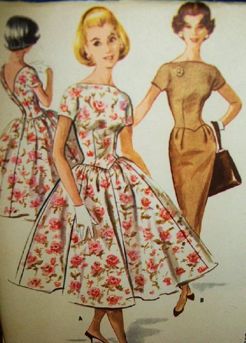 McCall's 4123 Junior Rockabilly Dress with Slim or Full Skirt, Low Waist, Darts, Boat Neck Line, Vintage Sewing Pattern Check Offers for Size