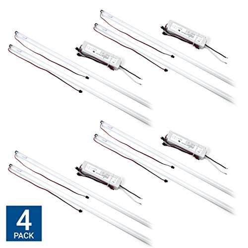Hyperikon Magnetic Mount 4ft LED Tube Retrofit Kit, 36W (240W Equiv), 1 Driver w/ 2 Tubes Per Kit, Fluorescent Replacement for Troffer, 2x4 Panel, Ceiling Light, 4500 Lumens, 5000k - 4 Pack by Hyperikon