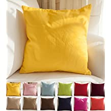 """TangDepot Decorative Handmade Solid Cotton Throw Pillow Covers /Pillow Shams, 15 Color and 9 Size options, Apple green, Brilliant rose, Coral, Dark Navy, Deep coffee, Gray Stone, Khaki, Light Purple Lavende, Light blue, Light coffee, Orange, Red, Salmon pink, Wine, Yellow, 12"""" x 12"""", 12"""" x 18"""", 14"""" x 14"""", 16"""" x 16"""", 18"""" x 18"""", 20"""" x 20"""", 22"""" x 22"""", 24"""" x 24"""" and 26"""" x 26"""" - (12""""x12"""", Yellow)"""