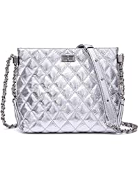 Quilted Chain Shoulder Bag for Women Split Leather Zipper Handbags Purse (NP2119S)
