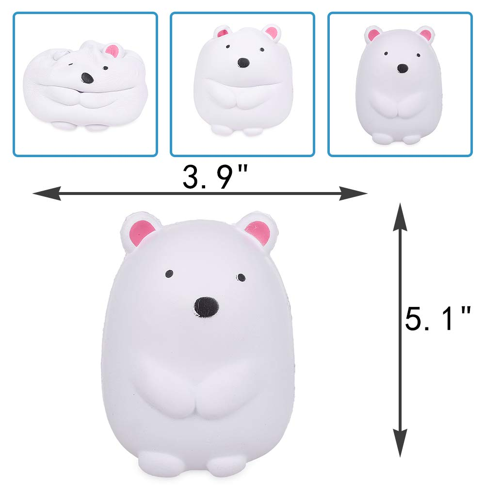 Anboor 5.1 Squishies Polar Bear Kawaii Soft Slow Rising Scented Animal Squishies Stress Relief Kids Toys Gift Collection Decorative Props White