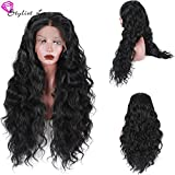 """Stylistlee Synthetic Long Nature Body Wave Lace Front Wigs 250% High Density Free Part Heat Resistant Fiber Hair Half Hand Tied Replacement Hair Wigs For Women (26"""" dark brown)"""