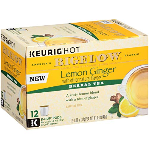 Bigelow Lemon Ginger Keurig K-Cups Box of 12 Cups (Pack of 6), 72 Tea Bags Total.   Single Serve Portion Premium Tea in Pods Compatible with Keurig and other K Cup Coffee and Tea Brewers