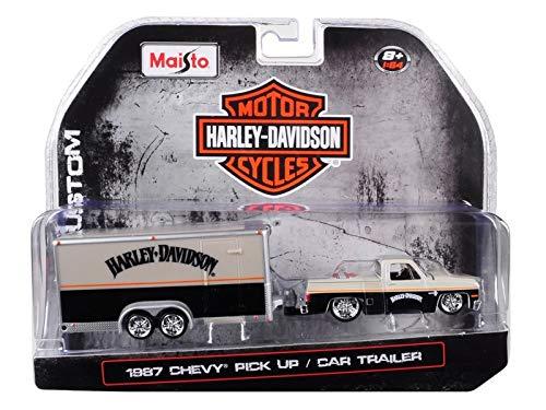 Maisto 1987 Chevrolet Pickup Truck with Enclosed Car Trailer Pearl Beige/Silver/Black Harley Davidson 1/64 Die-Cast Model Car 15363-HD2