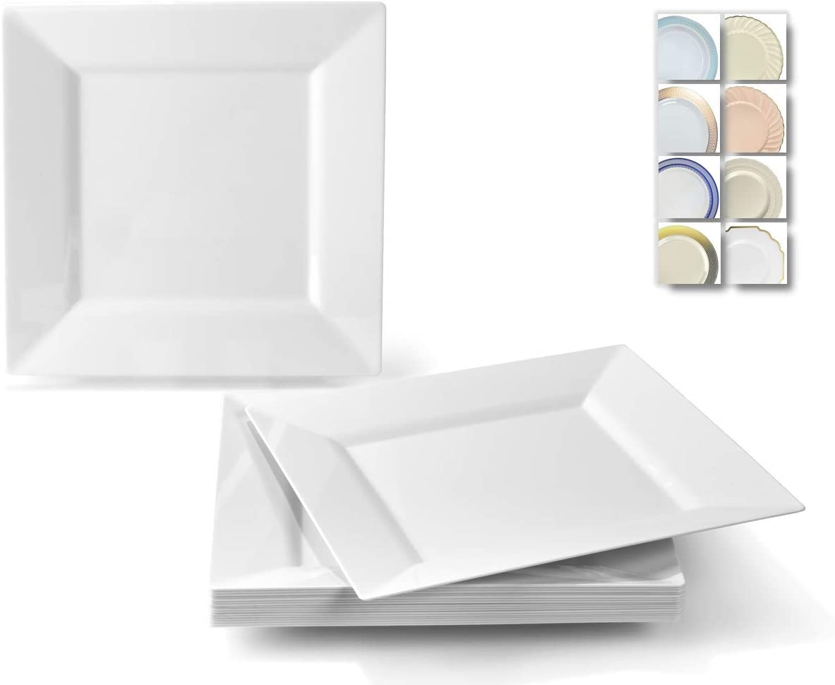 Occasions 120 Plates Pack Heavyweight Disposable Wedding Party Plastic Plates 8 Appetizer Dessert Plate Square White Kitchen Dining