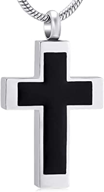 Cross Cremation Necklace for Ashes Stainless Steel Cremation Urn Memorial Keepsake Ashes Holder Pendant Necklace