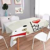 Table in Washable Polyeste Decor Collection I Love My Dog Text Typeset Typescript Medical Veterinary Abstract Illustration Banquet Wedding Party Restaurant Tablecloth 60''x102''