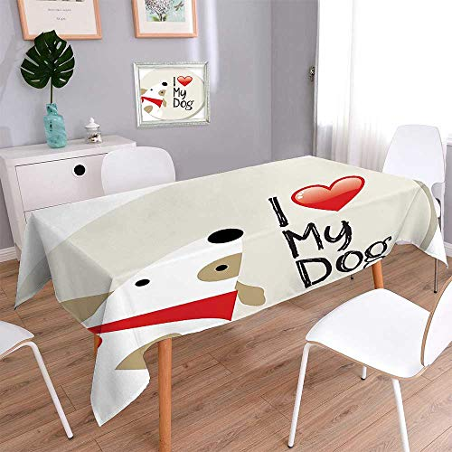 Table in Washable Polyeste Decor Collection I Love My Dog Text Typeset Typescript Medical Veterinary Abstract Illustration Banquet Wedding Party Restaurant Tablecloth 60''x102'' by L-QN