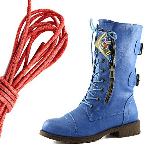 Dailyshoes Femmes Lace Militaire Boucle Boucle Bottes De Combat Mi Genou Haute Poche De Carte De Crédit Exclusive, Rouge Bleu Ciel