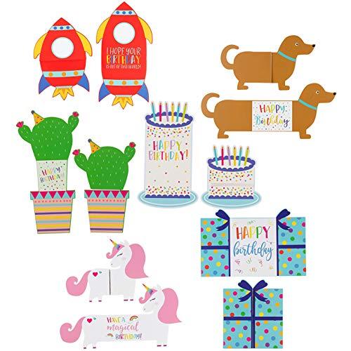 Sustainable Greetings Kids Die Cut Tri-Fold Birthday Cards with Envelopes (24 Pack) 6 Designs (Die Cut Birthday Card)