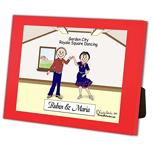 Personalized Friendly Folks Cartoon Caricature in a Color Block Frame Gift: Square Dance Couple by Printed Perfection (Image #1)