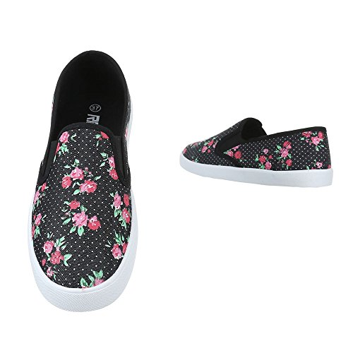 Ital-Design Slipper Damen Schuhe Low-Top Leichte Halbschuhe Schwarz Multi
