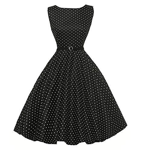 金銭的な絶妙タクトNaughtyspring レディース クラシック オードリーヘップバーン1950年代高品質レトロ花柄 スイング ドレス ワンピース (X-Small, 9303 /ブラックポイント)