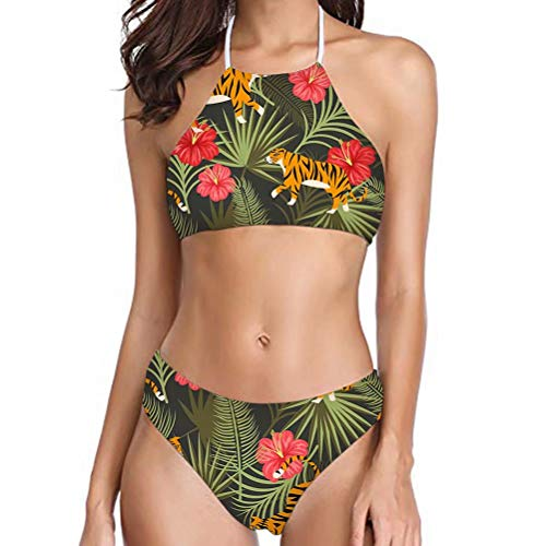 FOR U DESIGNS Womens Sexy Two Pieces Halter Bikini Sets 2PCS Swimsuits Fashion Jungle Tiger Print Bikini Swimwear XS