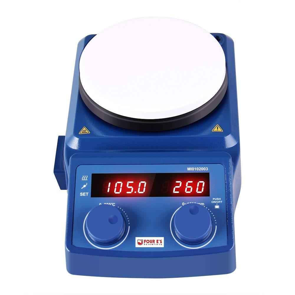 Four E's Scientific Digital Magnetic Stirrer Heating Hot Plate | 100 - 1500 RPM Stir Speed | 77-536℉ Temp | 600 W Heat Power | 5000ml Max Capacity | Ceramic Plate Size: 5.3'' Diameter | 120V US Plug by FOUR E'S SCIENTIFIC