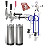 Kegco KC 2KHBBLK Two Homebrew Keg Door Mount Kegerator Kit with New Ball Lock Kegs, Chrome