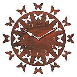 Sehaz Artworks 12-Butterflies Manufactured Wood 10 inch Designer Wall Clock for Home and Kitchen - Brown
