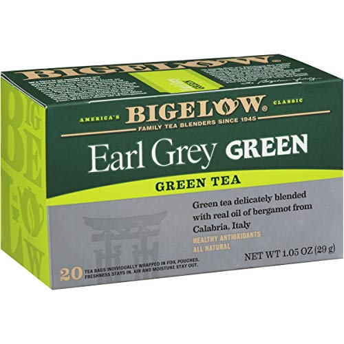 - Bigelow Earl Grey Green Tea Caffeinated Individual Green Tea Bags, for Hot Tea or Iced Tea, 20 Count (Pack of 6), 120 Tea Bags Total.