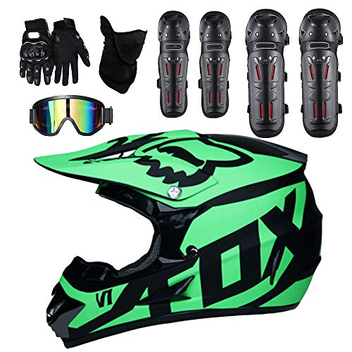 Adult Motocross Helmet Man Woman Off Road DOT Outdoor Full Face MX Dirt Bike Motorcycle ATV Helmet Free Windproof Glasses Mask Gloves Elbow Pads and Kneepad,L