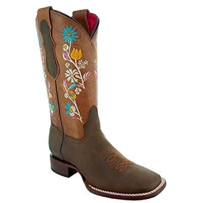 Soto Boots Women's Broad Square Toe Floral Cowgirl Boots M9004 | Boots