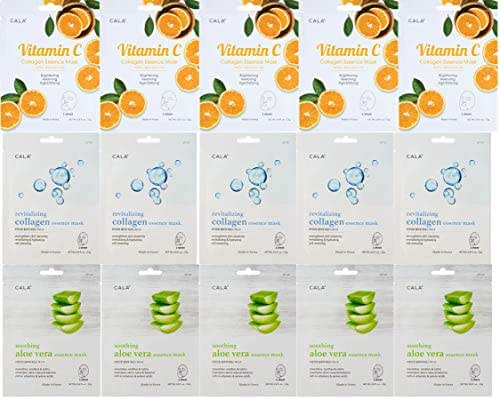 CALA 15 Pieces Combo Pack Essence Full Face Facial Mask Sheets - 5 Pieces Vitamin C Masks, 5 Pieces Aloe Vera Masks. 5 Pieces Collagen Masks, Made in Korea