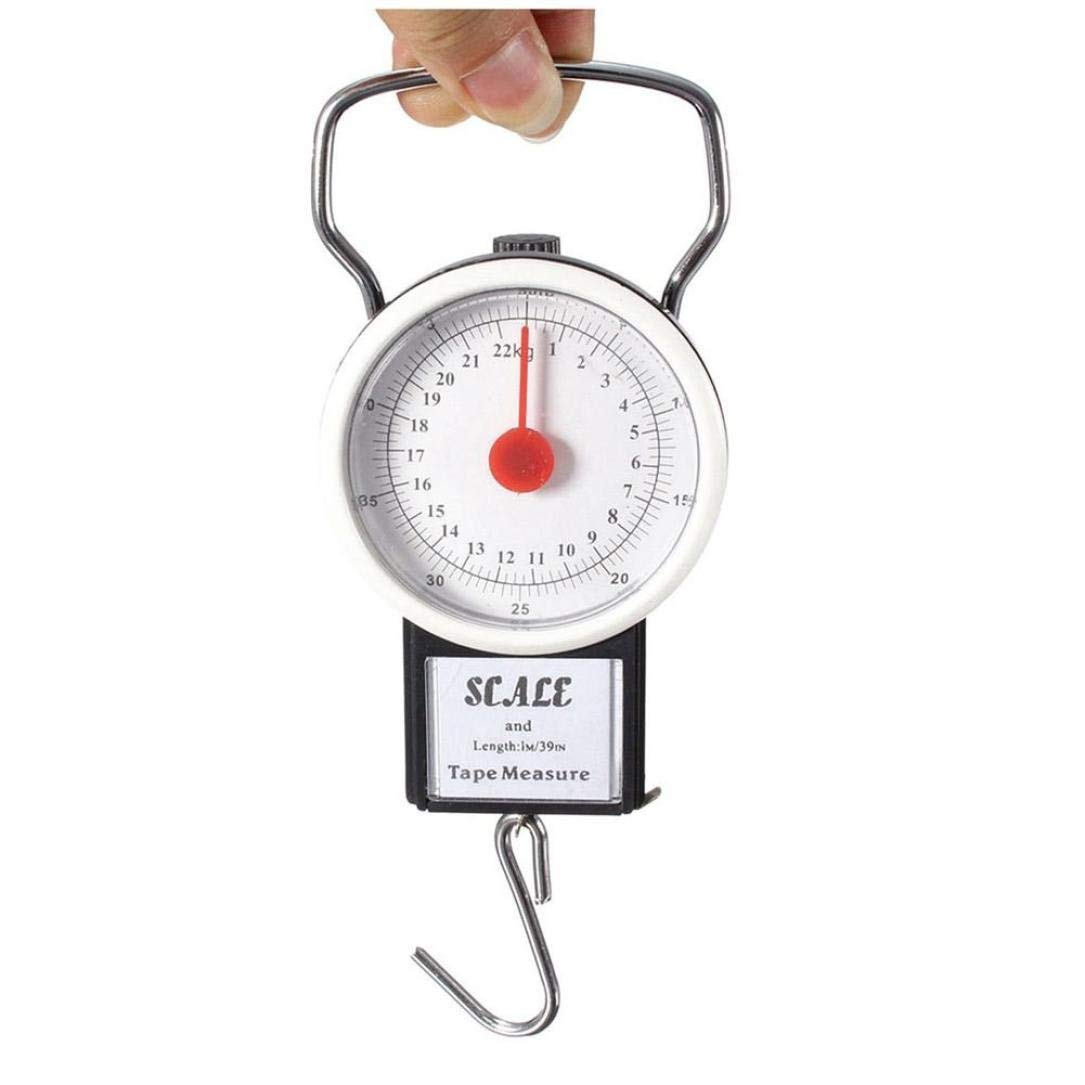 Loneflash Luggage Manual Scale,32KG Mobile Spring Scales Luggage Scales Hook Fish Scale Shopping Scales with Tape Measure