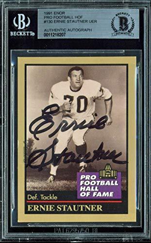 Steelers Ernie Stauner Signed 1991 ENOR Pro Football HOF #130 Card BAS Slabbed (Card Enor 1991)
