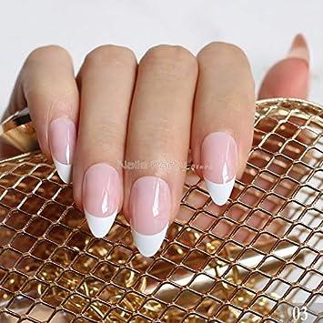 Amazon com : French Nails Simply Beige White False Nail