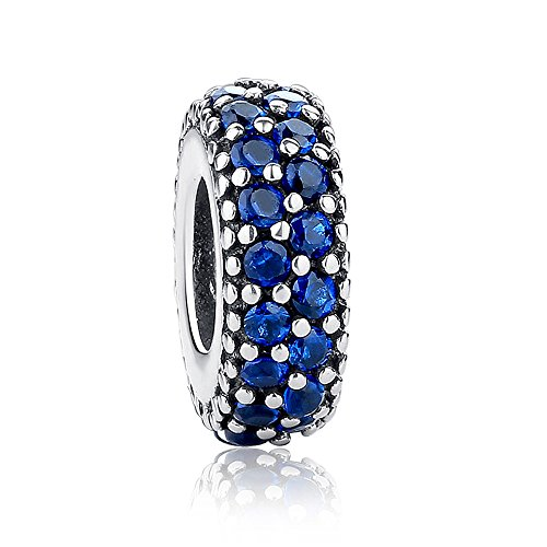Inspiration Within with Fancy CZ Spacer 925 Sterling Silver Bead Fits European Charm Bracelet (Blue) ()