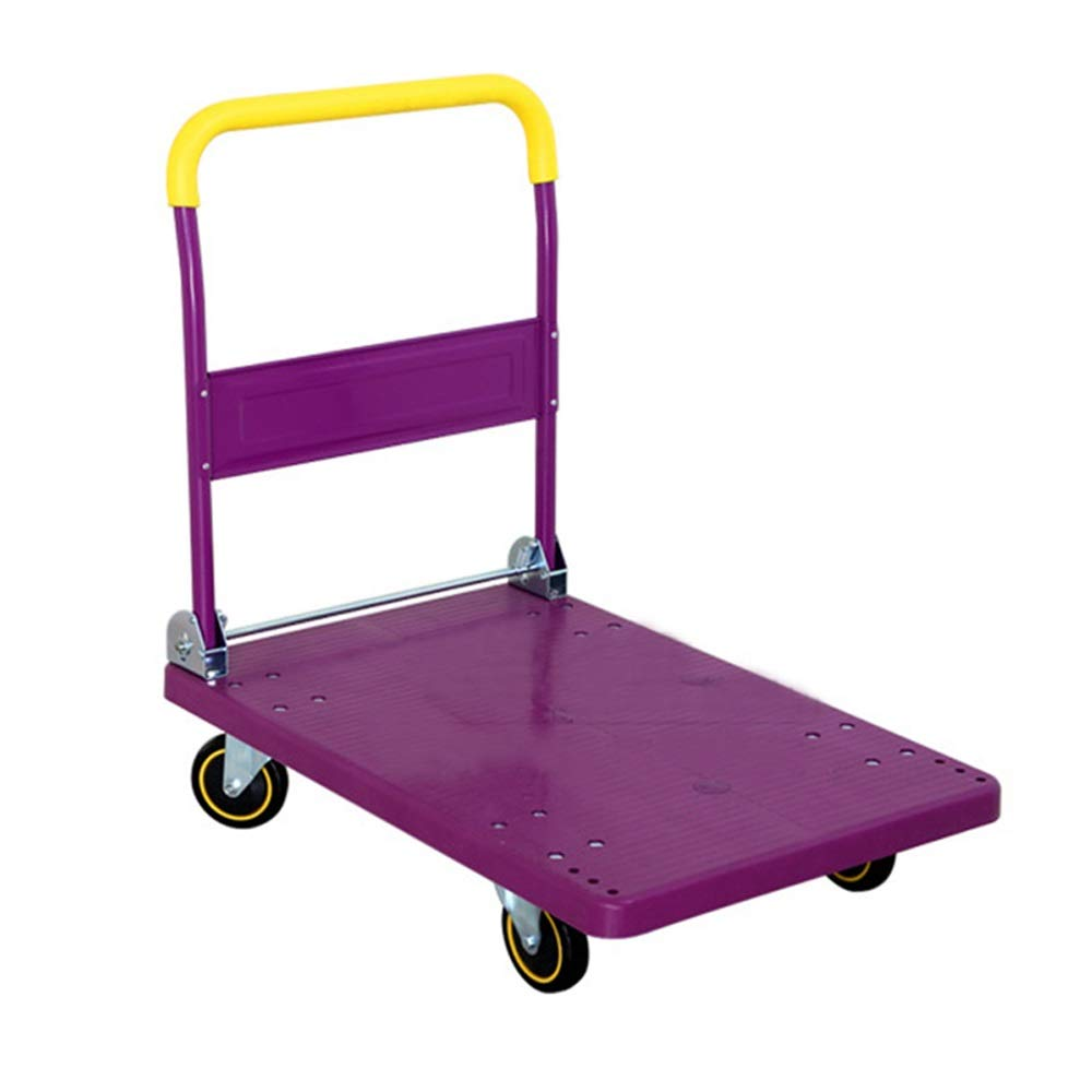 Shoutuiche Plastic Flatbed trolleys Household Storage Trolley Trucks Push Trucks Silent Folding Trolley (Size : 86.5cm*72cm*48cm) LEYOUDIAN