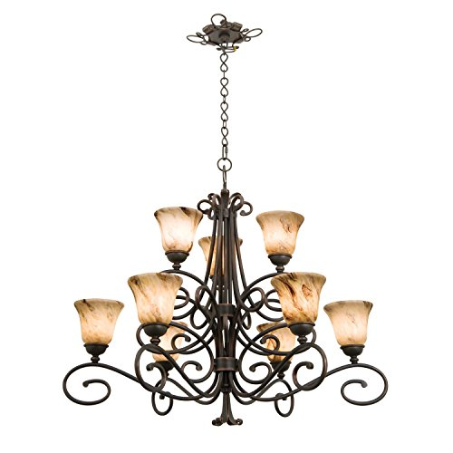 UPC 720062057216, Kalco 5535-AC-1219 Amelie - Nine Light 2-Tier Chandelier, Glass Options: 1219: White alabaster d: 6 h: 5