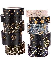 ASTU Black Washi Tape Set - 15 mm Wide Vintage Floral Washi Masking Tape Assortment Black and Gold Foiled for Bullet Journal, Scrapbooking, DIY Crafts, Gift Wrapping (Black Gold Foiled Floral)