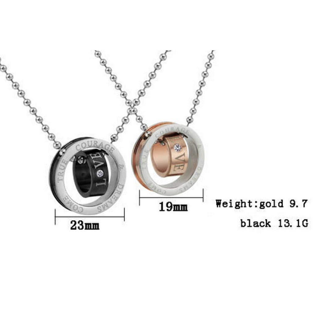 Men Stainless Steel Pendant Necklace Cubic Zirconia Double Rings 50CM Gnzoe Jewelry