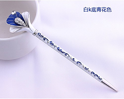 Fashion Hair Decorative Chinese Traditional Style Women Girls Hair Stick Hairpin Hair Making Accessory with Lotus 1pc/package (dark blue with white)