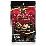 Organic & All Natural 72% Dark Chocolate Covered Raw Almonds by TRU Chocolate®, No Sugar, Dairy Free, Vegan, Gluten Free, NON GMO, Kosher 3oz.
