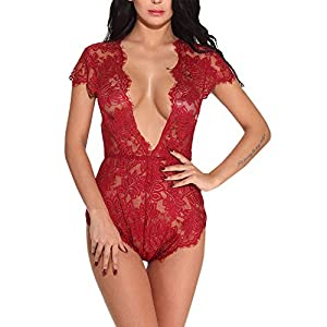 Women One Piece Lace Teddy Deep V Bodysuit Lingerie