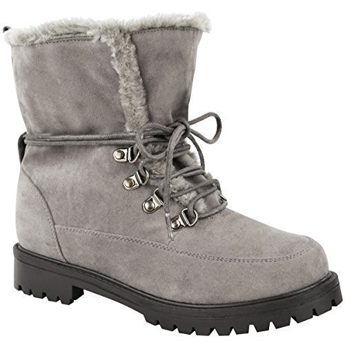 Fashion Thirsty New Ladies Womens Faux Fur Grip Sole Lace Up Winter Ankle Boots Army Shoes Size Grey Faux Suede
