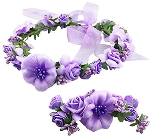 Coolwife Flower Crown Wedding Hair Wreath Floral Headband Garland Wrist Band Set (Purple)