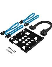 Sabrent Kit de montaje de disco duro interno 3.5'' a x2 SSD / 2.5'' [Cables eléctricos y SATA incluidos] (BK-HDCC)